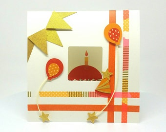 Birthday Card, Pop up Birthday card, Cupcakes, ballons, Candles, washi tape, magnet, orange