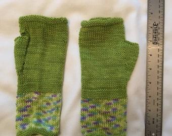 Fingerless Mittens - Green