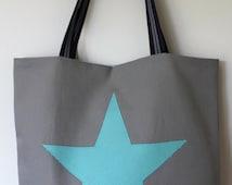 Star bag/Grey and turquoise star handbag/Handbag/Fabric Shopping bag/Tote bag/shoulder bag/star bag