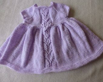 Hand knitted baby dress, 0-3 months, capped sleeves, lace detail