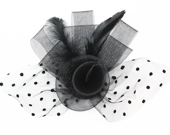 Tulle Flower Fascinator with Feathers, With Hair Clip and Brooch, Wedding Fascinator, Bridal Headpiece, Feather Hair Accessory