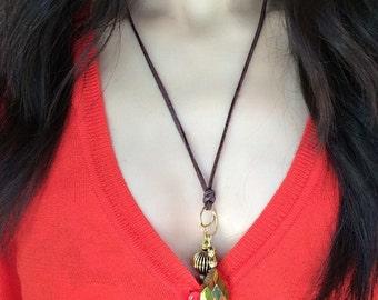 Suede Necklace - Pendant Necklace - Handmade Necklace for Women - Brown Suede Necklace - Handmade Jewelry