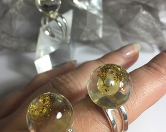 aesidhe.com | sterling silver rings with pearls encapsulated in a crystal resin sphere for eternity