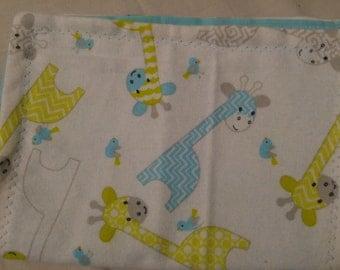 Baby giraffe burp cloths