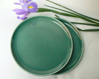 """PAIR of Russel Wright Seafoam Green  Ceramic Plates-Steubenville Pottery-Classic American Modern Blue Green Tableware Salad/Luncheon Size 8"""""""