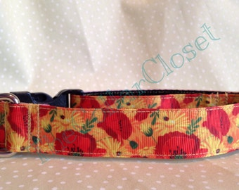 Autumnal Poppy Dog Collar