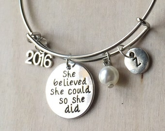 She Believed She Could So She Did Bracelet Bangle Inspirational Affirmation Jewelry Graduation Gift Class of 2016 ST-04