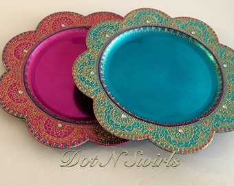 Beautiful HANDMADE Charger Plate/Henna Plate/Pooja Thali/Wedding Center Piece/decorative plate/mehndi centerpiece/diwali decor/wedding decor