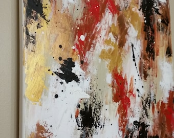 Original Abstract Canvas Painting 16x20 Acrylic - Rage - Black white gold red tones - with black frame option!