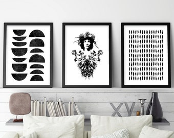 Set of 3 Prints, Black and White Art, Minimalist Art Set, Minimalist Poster, Minimalist, Scandinavian Modern, Scandi Print, Downloadable Art