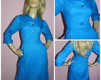 Vintage 50s Bright Blue SECRETARY Day dress 10-12 Mad Men 1950s MID CENTURY Office