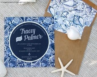 Palmer Invitation SAMPLE - Seashells, White Ink Printing, Beach Invitation, Navy Designer Paper Circle Wedding Invitation, Kraft Envelope