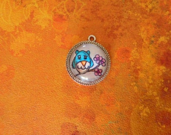 Little Owl and Blossom Pendant Necklace