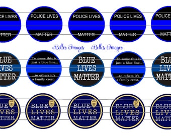 Blue Lives Matter Bottle Cap Images 1 inch circles Police