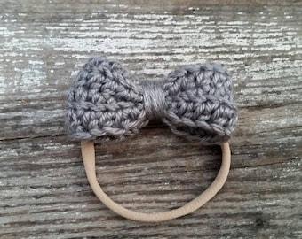 Baby Girl Gray Headband / Gray Newborn Baby Headband / Nylon Headband / Gray Newborn Photo Prop /