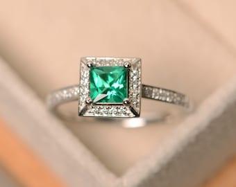 Emerald ring, princess cut emerald, emerald engagement ring