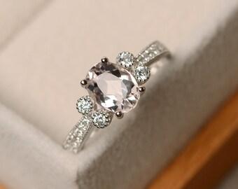 Morganite ring, engagement ring, ova cut, pink morganite