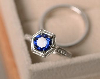 Lab sapphire ring, promise, sterling silver, September birthstone, engagement ring