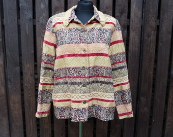 Indie Boho style Ornaments Jacket long sleeves, gold, red, green