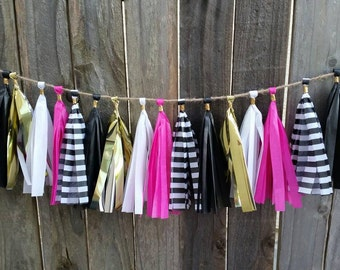 spade tassel garland, spade party, first birthday, mother's day garland, black white and pink party, baby shower, black pink gold garland