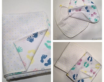 Matching Handprint with Blue and Yellow dots Baby Blanket Bib and Burp Cloth Gift Set