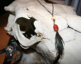 Animal bone feather necklace