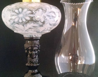 Three Face Pattern Glass Oil Lamp Made in USA in French Opalescent Daisy & Fern Fount over Black Raspberry Base