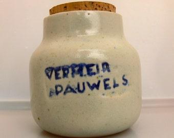 Mustard pot Vermeir Pauwels . Glazed pottery stoneware with its original cork stopper . Marked nat cobalt .
