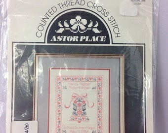 "Vintage 1986 Astor Place cross stitch ""Wedding Bell"" new in bag"