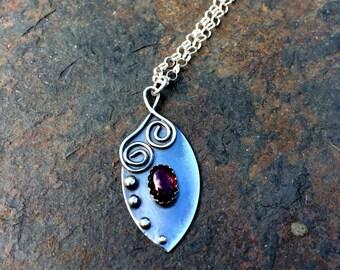 Leaf necklace garnet and sterling silver necklace