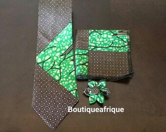 Parakeet green tie- Mens Ties- Mens Necktie- African Print Tie- Necktie- Print Necktie- Neck Tie- Bow Tie- Bow Tie and Pocket Square- Bowtie