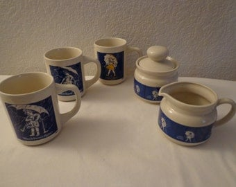 "Vintage ""Morton Salt"" Mugs with Creamer and Sugar Dish"