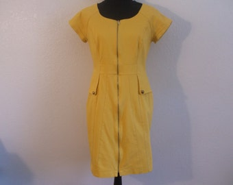 Vintage Yellow Zipper Dress - Size 10 by Leslie Fay