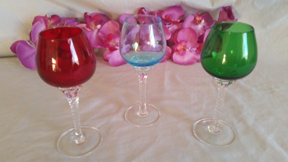 CLEARANCE Colored Glass Crystal Stemware Wine Glasses Set