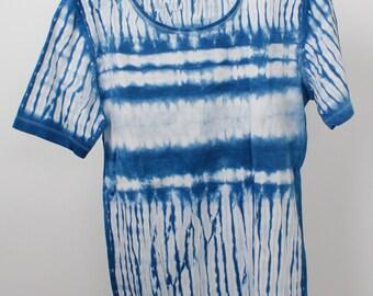 Shibori Tie-dyed Indigo T-shirt size M/L
