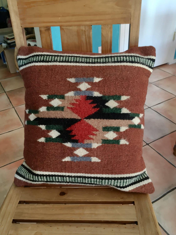 Zapotec Throw Pillows : Mexican Zapotec woven wool pillow diamond design brown