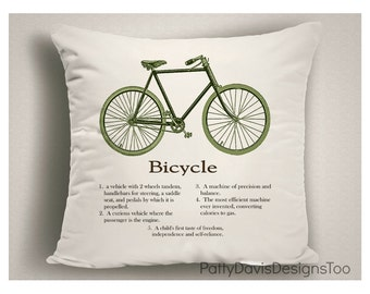 Gifts for Bicycle Lovers, Bicycle Gifts, Bicycle Decor, Throw Pillows, Pillow Covers, Decorative Throw Pillows, Bicycle Art