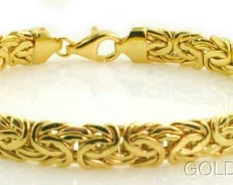 14K Yellow Gold Shiny Byzantine Fancy Bracelet.