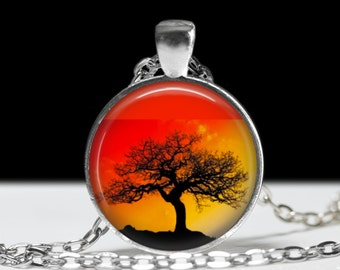 """Tree at Sunset Necklace. Colorful, Bright and Vibrant, Natural Sunset Colors and Autumn Tree Silhouette Jewelry. 1"""" Silver and Glass Pendant"""