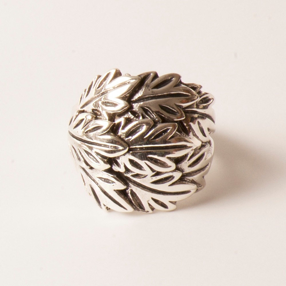 sterling silver leaf ring stackable rings statement ring