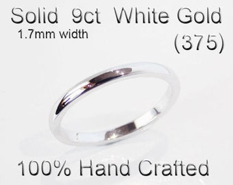 9ct 375 Solid White Gold Ring Wedding Engagement Friendship Half Round Band 1.7mm