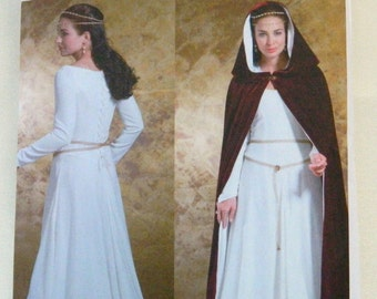 MEDIEVAL GOWN And CAPE Costume Pattern Butterick B4377 Size 6 - 12; Lined Cape w/ Hood; Gown w/ Princess Seams; Fantasy Cloak, Renaissance