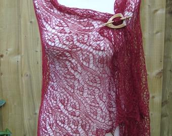 Handmade knitted lace burgundy shawl