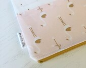 Pink and Gold Flamingo Zipper Bag with Floral Lining, Zipper Pouch, Gold Zipper
