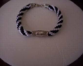Bracelet woven by hand, white and black, bracelet mens bracelet, bracelet for young people