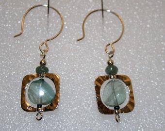 OOAK rainbow fluorite & apatite earrings; sterling silver rainbow fluorite earrings; unique, handcrafted rainbow fluorite earrings