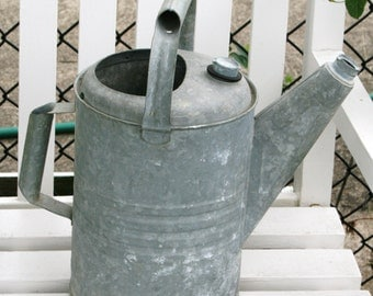 SALE: Vintage watering can; gallon zinc watering can; farmhouse watering can