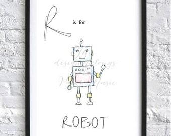 R is for Robot Children's Bedroom Wall Art Print Alphabet