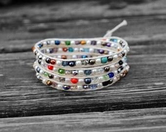 Wrap Bracelet Summer Bracelet Colorful Crystal Charm Bracelet 4mm Beaded Bracelet with White Wax Cord