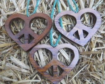 Three Wooden Heart/Peace Christmas Tree Ornaments or Pendants